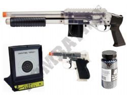 M3000 BB Shotgun + CS45 Pistol Clear 2 Tone BB Gun Bundle + 2000 Pellets & Target Set